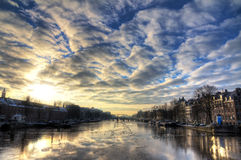 Winter Amstel cloudscape Royalty Free Stock Images