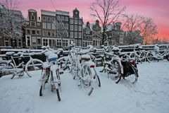 Winter in Amsterdam Netherlands at sunset. Winter in Amsterdam in the Netherlands at sunset Royalty Free Stock Photos