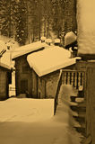 The winter in an ancient rural village Stock Images