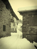 The winter in an ancient rural village Royalty Free Stock Image
