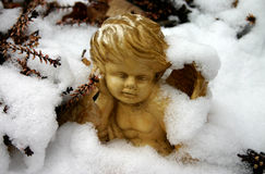 Winter Angel. Angel figure covered with snow (garden ornament royalty free stock images