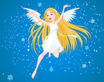 Winter angel. Pretty flying girl with wings Royalty Free Stock Photos