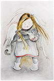 Winter Angel with cat Royalty Free Stock Photos