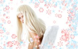 Winter angel with snowflakes Royalty Free Stock Photos