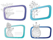 Winter animal frames Stock Image