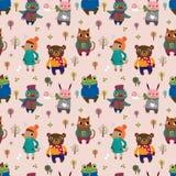 Winter animal seamless pattern Stock Photo