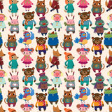 Winter animal seamless pattern. Vector,illustration Royalty Free Stock Image