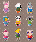 Winter animal stickers Royalty Free Stock Images