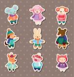 Winter animal stickers. Cartoon vector illustration Royalty Free Stock Photos
