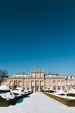 Winter-Ansicht von La Granja de San Ildefonso Stockfotos