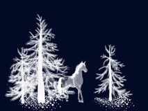 Winter Appaloosa Horse in The Pine Forest. An appaloosa horse stands in the pine forest deep in winter Royalty Free Stock Photos