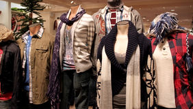 Winter apparel. Mannequins with winter clothing at an apparel store royalty free stock photography