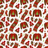 Winter apparel seamless pattern. Christmas clothes repeating texture. Warm clothing Infinite background. Sweater, gloves Royalty Free Stock Photos