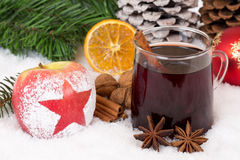 Winter apple fruit and mulled wine alcohol drink on Christmas Royalty Free Stock Photography
