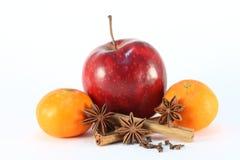 Winter apple tangerine flavor. Arrangement of winter item flavors Stock Images