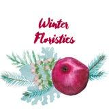 Winter-Aquarell-floristische Zusammensetzung Stockbilder