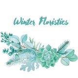 Winter-Aquarell-floristische Zusammensetzung Lizenzfreie Stockfotografie