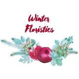 Winter-Aquarell-floristische Zusammensetzung Stockbild