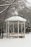 Winter.Arbour en parque. Fotografía de archivo