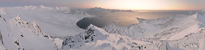 Winter Arctic landscape, panorama at the sunset Stock Image