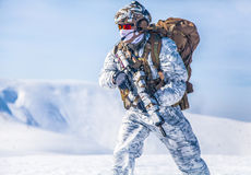 Winter arctic mountains warfare Stock Images