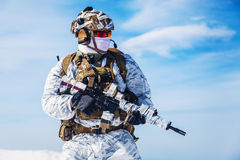 Winter arctic mountains warfare Royalty Free Stock Photography