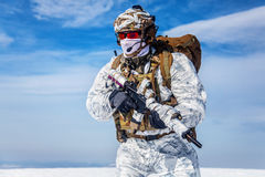 Winter arctic mountains warfare Stock Image