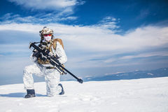 Winter arctic mountains warfare Royalty Free Stock Photo
