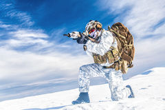 Winter arctic mountains warfare Stock Photos