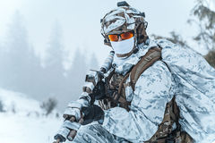 Winter arctic warfare Stock Photo