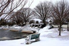 Winter am Argyle See in Babylon-Dorf Lizenzfreies Stockbild