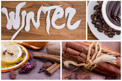 Winter Arrangements , hot chocolate,dry spices, raisins, cinnamo Royalty Free Stock Photography