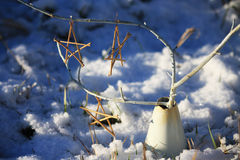 Winter Arrangements. Wooden stars on a white branch in a white vase in the snow Royalty Free Stock Photos