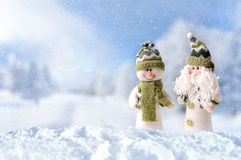 Winter arrival concept with two snowman Stock Images