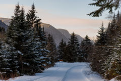 Winter arriving in Jacques Cartier Provincial Park, Quebec. Jacques Cartier Provincial Park covered in pristine snow at sunset Royalty Free Stock Photography