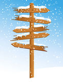 Winter arrow with snowfall Royalty Free Stock Photo