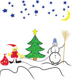 Winter art. Snowman,Santa Clause, a fur-tree in the winter Royalty Free Stock Image