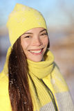 Winter Asian woman portrait smiling outdoors Royalty Free Stock Images