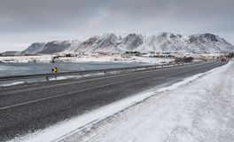 Winter asphalt frozen  road,  Selfoss city iceland Royalty Free Stock Image