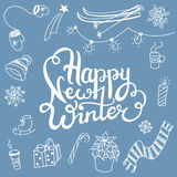 Winter associations doodles and lettering Royalty Free Stock Photo