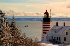 Winter At West Quoddy Head Lighthouse Royalty Free Stock Photo