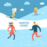 Winter athletes cartoon illustration Stock Images