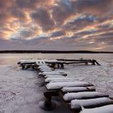 Winter auf dem Fluss Lizenzfreies Stockbild