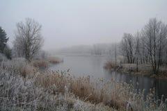 Winter auf dem gefrorenen Fluss Stockfotografie
