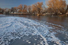 Winter auf Südplatte-Fluss, Kolorado Lizenzfreies Stockfoto