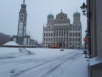 Winter Augsburg. A winter day at Augsburg townhall square royalty free stock image
