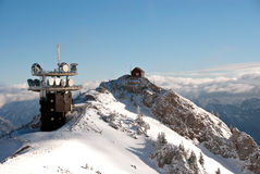 Winter Austrian Alps  telecommunication station Royalty Free Stock Image