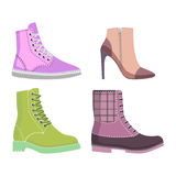 Winter and Autmn Female Shoes Set of Illustrations. Winter and autumn female shoes set of four winter and autumn shoes rubber boots and elite shoes isolated on Stock Photography