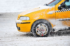 Winter auto taxi anti skid chain Royalty Free Stock Image