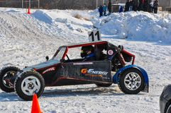 Winter auto racing on makeshift machines. Royalty Free Stock Photo